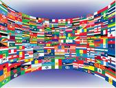 Jeu complet de drapeaux du monde — Vecteur