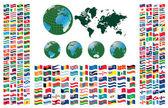 Alle vlaggen van de wereld — Stockvector
