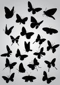 Vlinder silhouetten — Stockvector
