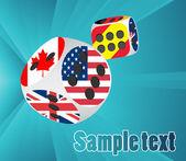 Dados de casino com bandeiras diferentes — Vetorial Stock