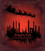 Urban holiday background with santa — Stock vektor