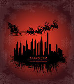 Urban holiday background with santa — Vector de stock