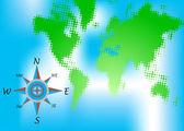 Kompas en wereld kaart — Stockvector
