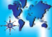 Mapa mundial y brújula — Vector de stock