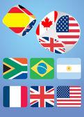 Casino dice farklı bayraklı — Stok Vektör