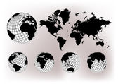 World map with Earth globes — Stockvector
