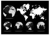 Mappa del mondo con globi di terra — Vettoriale Stock