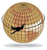 世界中の飛行機のルート — ストックベクタ