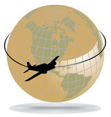 Airplane route around the world — Stockvector
