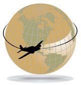 Ruta del avión alrededor del mundo — Vector de stock