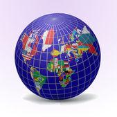 Tous les drapeaux en forme de globe — Vecteur