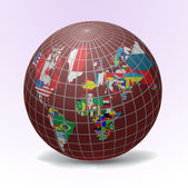 All flags in globe form — Vettoriale Stock