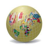 Alle vlaggen van de wereld in globe vorm — Stockvector