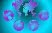 World map with Earth globes in white background — Wektor stockowy
