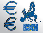 Sinal de euro com a bandeira da união europeia e mapa — Vetorial Stock