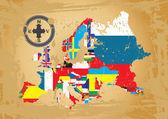 Kontur kartor över länderna i europa — Stockvektor