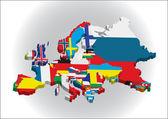 Cartes de contour des pays dans le continent européen — Vecteur