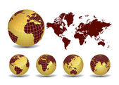 World map with Earth globes in white background — Vecteur
