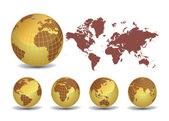 World map with Earth globes in white background — Vettoriale Stock