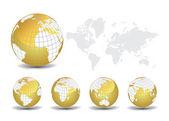 Wereldkaart met aarde globes op witte achtergrond — Stockvector
