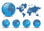 Carte du monde avec globes de terre en fond blanc — Vecteur