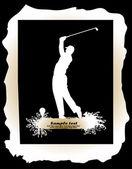 игрок в гольф в черном фоне — Cтоковый вектор