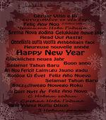 Feliz año nuevo en treinta idiomas — Vector de stock