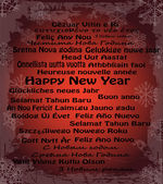 Happy New Year in thirty language — Cтоковый вектор