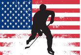 Jugador de hockey frente a la bandera de los e.e.u.u — Vector de stock