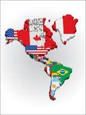 Mappe di contorno dei paesi nel continente nord e sud america — Vettoriale Stock