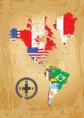 Kontur-karten der länder in nord- und südamerika kontinent — Stockvektor