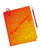 Note paper with pencil — Stock Vector