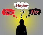 Mujer de negocios pensando sobre un problema — Vector de stock