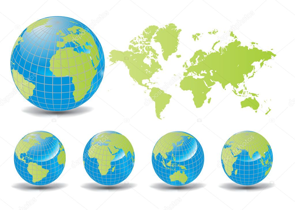 World map with Earth globes in white background (part of full set), vector illustration  Stock Vector #5803562