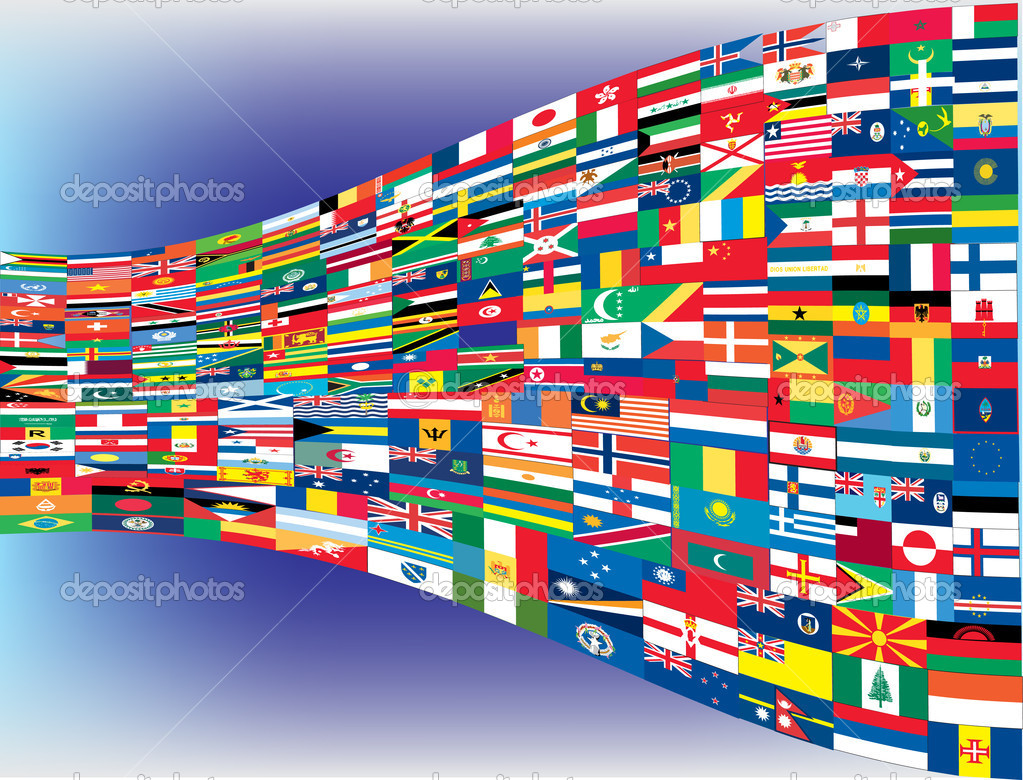 Complete set of Flags of the world, vector illustration   Stockvectorbeeld #5803627