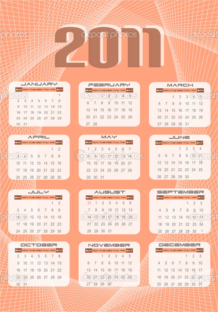 2011 calendar, vector illustration — Stock Vector #5803695