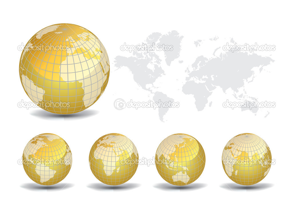 World map with Earth globes in white background (part of full set), vector illustration — Stock Vector #5803830