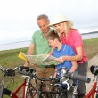 Family on a bike ride — Stock Photo