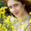 Stockfoto: Portrait of beautiful woman in brooms field