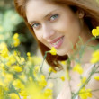 Portrait of beautiful woman in brooms field — Stock Photo