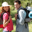 Happy couple on a hiking day — Stock Photo