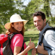 Happy couple on a hiking day — Stock Photo #5696072