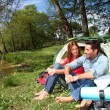 Foto Stock: Couple doing camping in summer