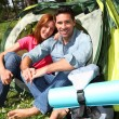 Couple doing camping in summer — Stock Photo #5696086