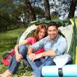 Couple doing camping in summer — Stock Photo