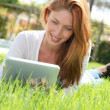 Beautiful woman websurfing with electronic tablet - Stock Photo