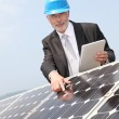 Royalty-Free Stock Photo: Businessman checking photovoltaic installation