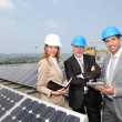 Engineers checking solar panels setup — Stock Photo