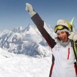 bella donna divertirsi alla montagna — Foto Stock #5697345