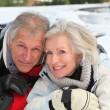 Senior couple having fun at ski resort — Stock Photo
